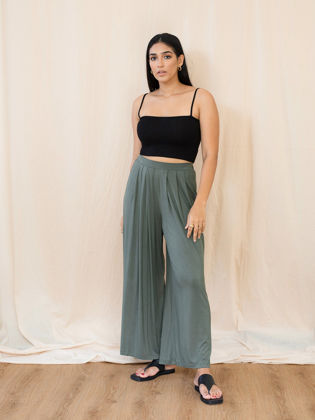 Pleated Basic Jersey Trouser