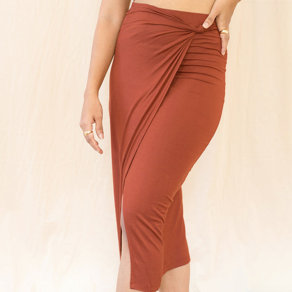Mock Wrap Knot Detailed Jersey Skirt
