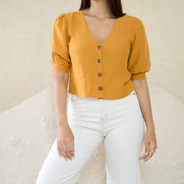 Button Down Puff Sleeve Top