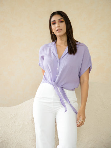 Front Tie Up Button Down Top