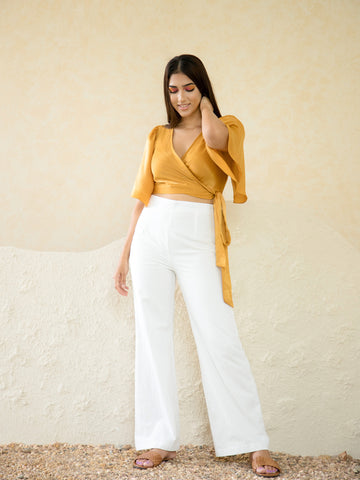 Flared Sleeve Wrap Crop Top