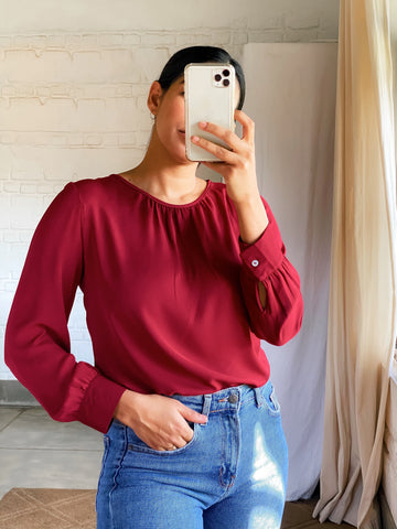 Gathered high neck top