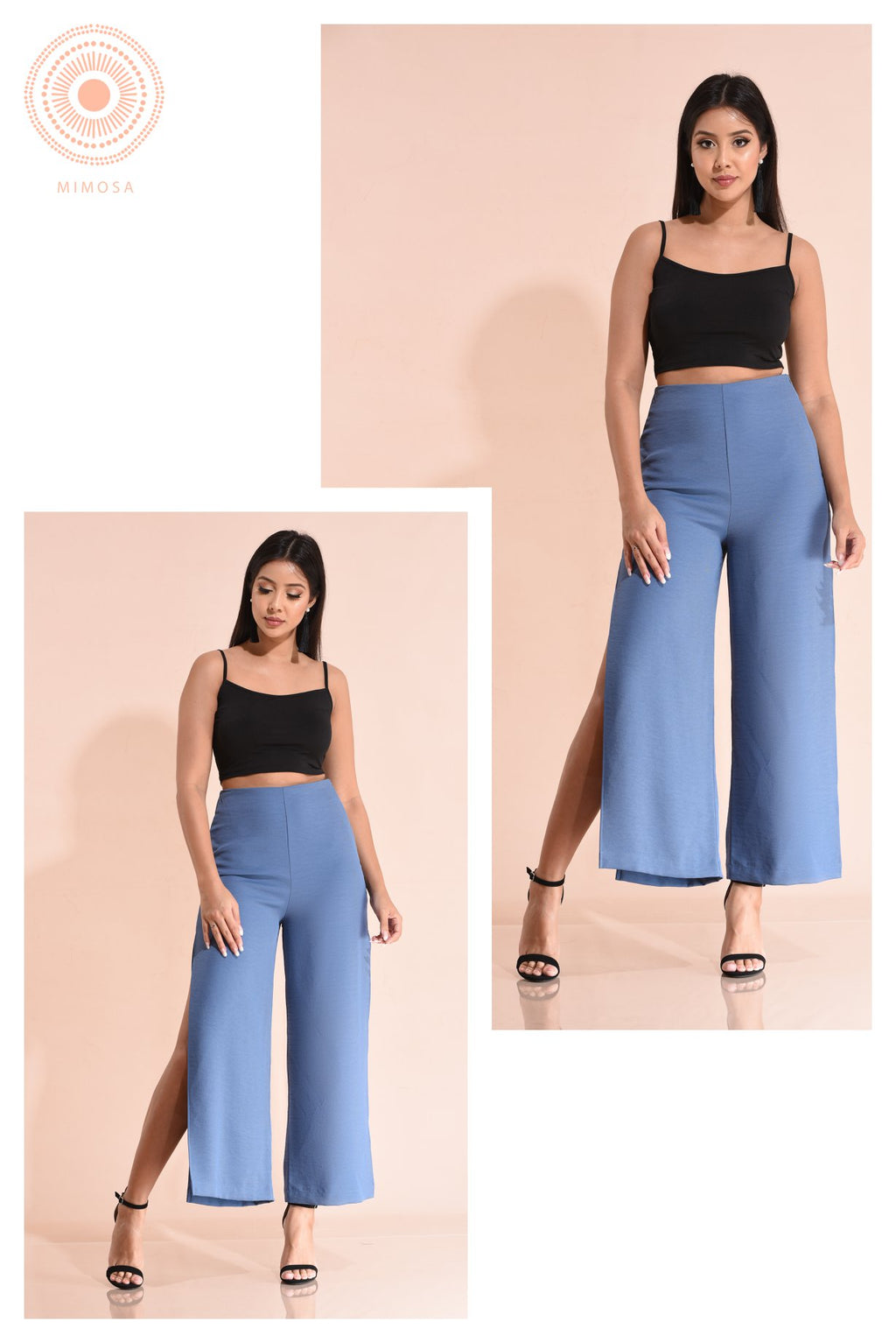 wide leg pant with a side slit