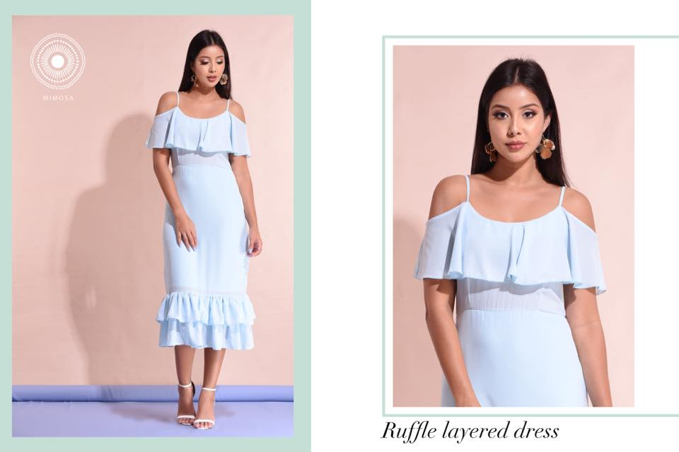 ruffle hem off the shoulder dress