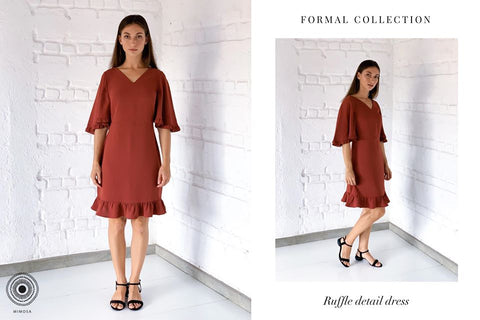 RUFFLE FLARED SLEEVE DRESS