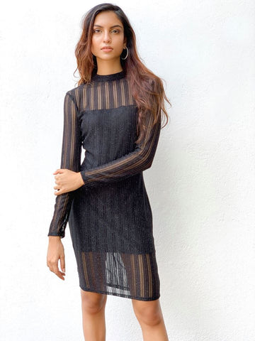 Long sleeve sheer mini dress