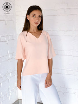 v neck mid sleeve top