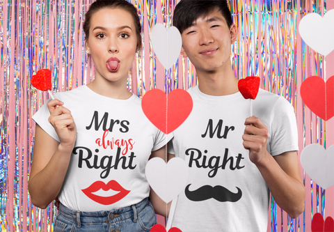 couple holding candy wearing mr and mrs right tshirt