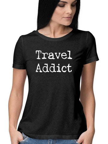 Travel Addict Womens Casual Tshirt - COPYCATZ