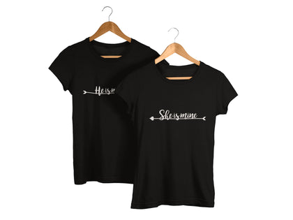 He is Mine and She is Mine Couple T-Shirt - COPYCATZ
