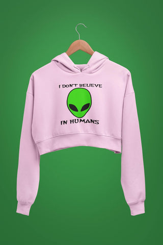 thelegalgang,I Dont Believe in Humans Graphic Crop Hoodies,.