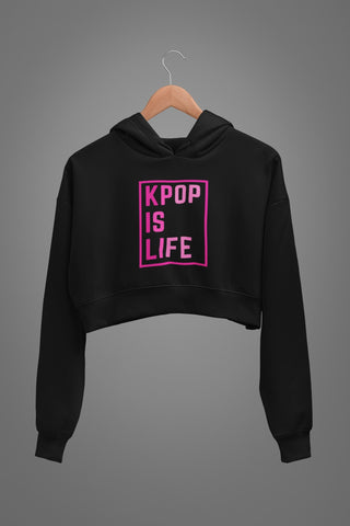 KPOP is Life Graphic Crop Hoodies