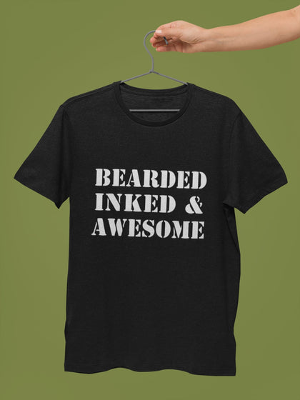 thelegalgang,Bearded Inked and Awesome T Shirt for Bearded Men,MEN.