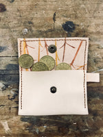 RUA leather wallet •  hand stitched and hand printed