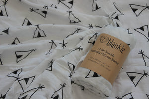 Bamboo Cotton Blend Muslin blankie - Teepee Tents
