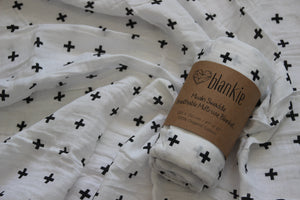 Organic Cotton Muslin blankie - Crosses