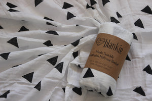 Organic Cotton Muslin blankie - Triangles