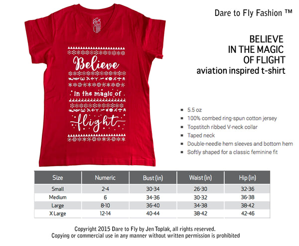 Believe in the magic of flight holiday tee dare to fly apparel