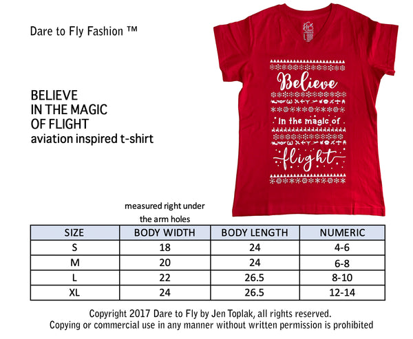 Believe in the magic of flight female pilot tee