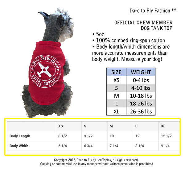 Official Chew Member dog tank aviation apparel for dogs