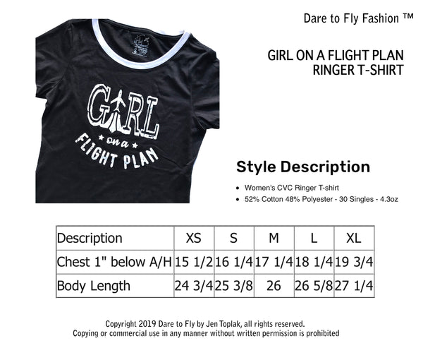 GIRL ON A FLIGHT PLAN RINGER T-SHIRT