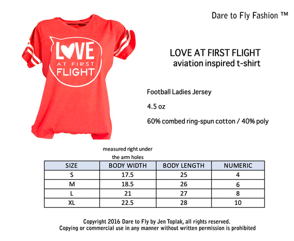 LOVE AT FIRST FLIGHT FEMALE PILOT T-SHIRT