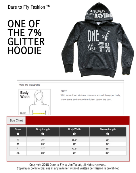 One of the 7% glitter hoodie size chart