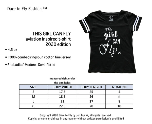 THIS GIRL CAN FLY FEMALE PILOT T-SHIRT