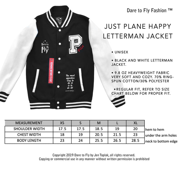 Just Plane Happy Letterman Jacket Dare to Fly Fashion