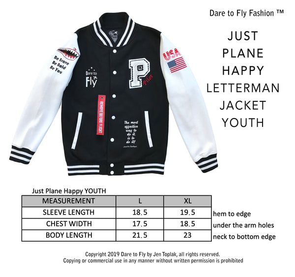 Just Plane Happy Letterman Jacket youth sizes