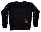 AV8R LACE-SLEEVE FLEECE SWEATER
