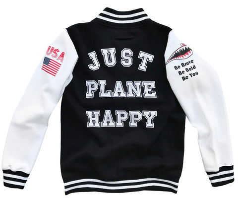 JUST PLANE HAPPY LETTERMAN JACKET Youth