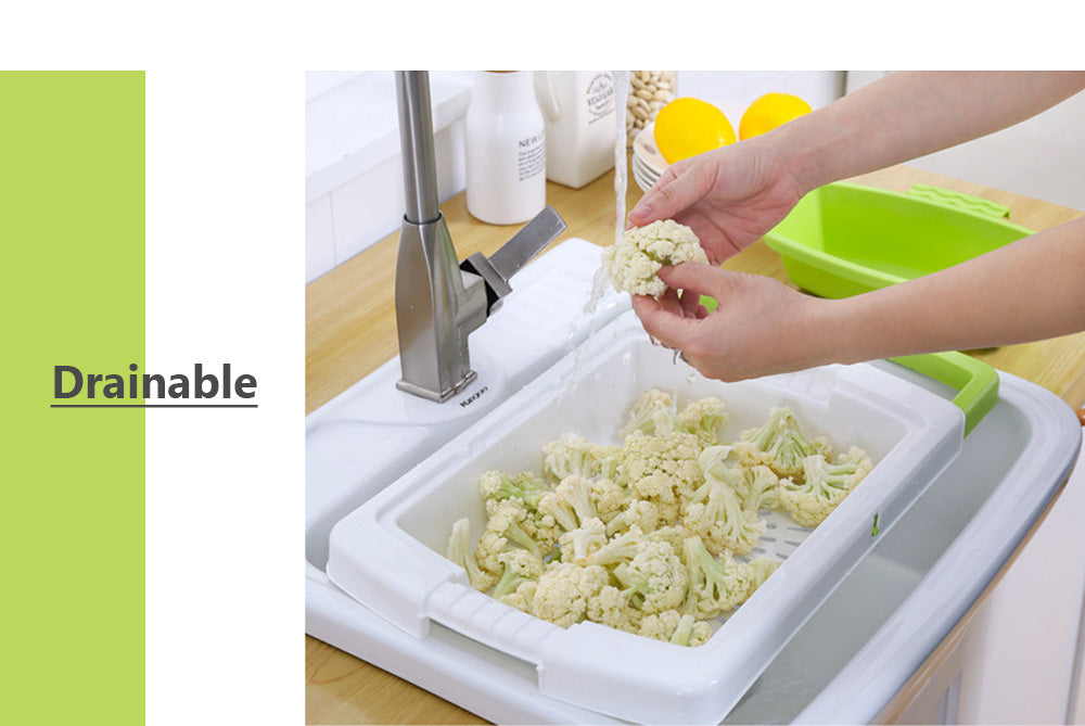 (Hot selling 5000 items)Plastic Cutting Board with Multifunctional Drain Basket