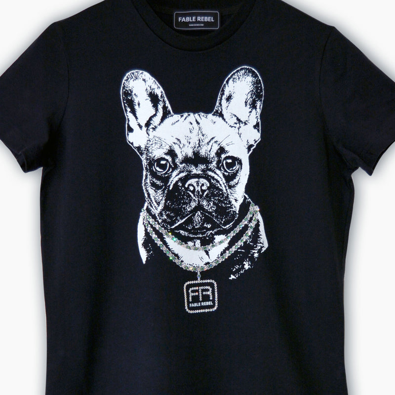 Black Organic T-shirt with French Bulldog print encrusted with Swarovski Crystals