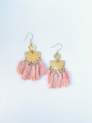 Light Pink Tassel Earring - The Bamboo Rack