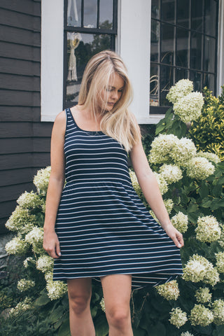 Olivia Dress Navy Stripe - The Bamboo Rack