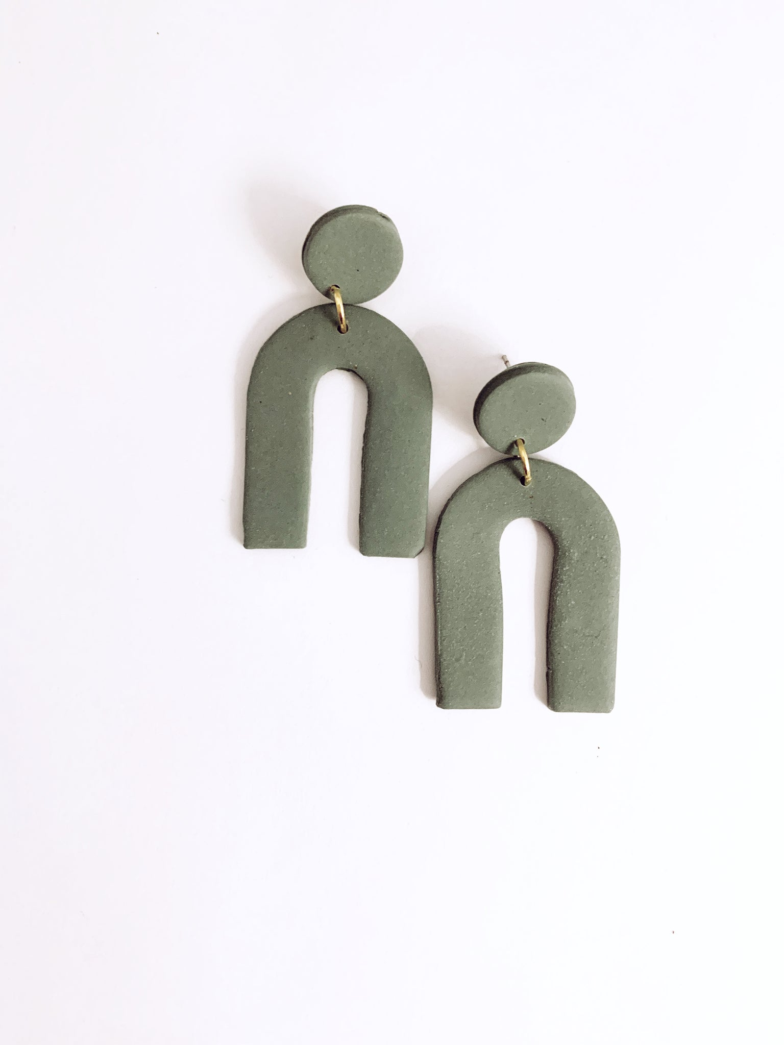 Arc Clay Earring in Sage - The Bamboo Rack
