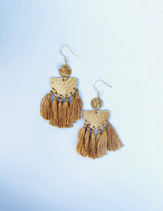 Gold Tassel Recycled Earring - The Bamboo Rack