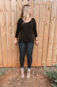 Eco-ribbed Twisted Blouse - The Bamboo Rack