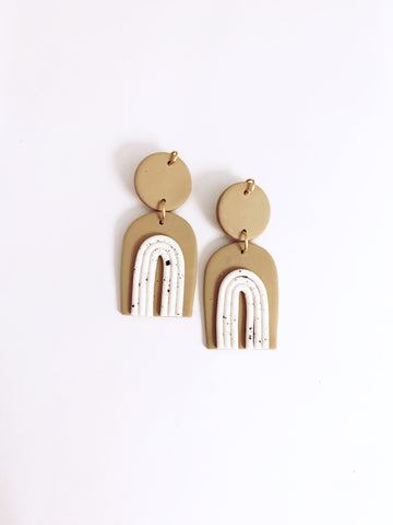 Francis Clay Earrings - Beige - The Bamboo Rack