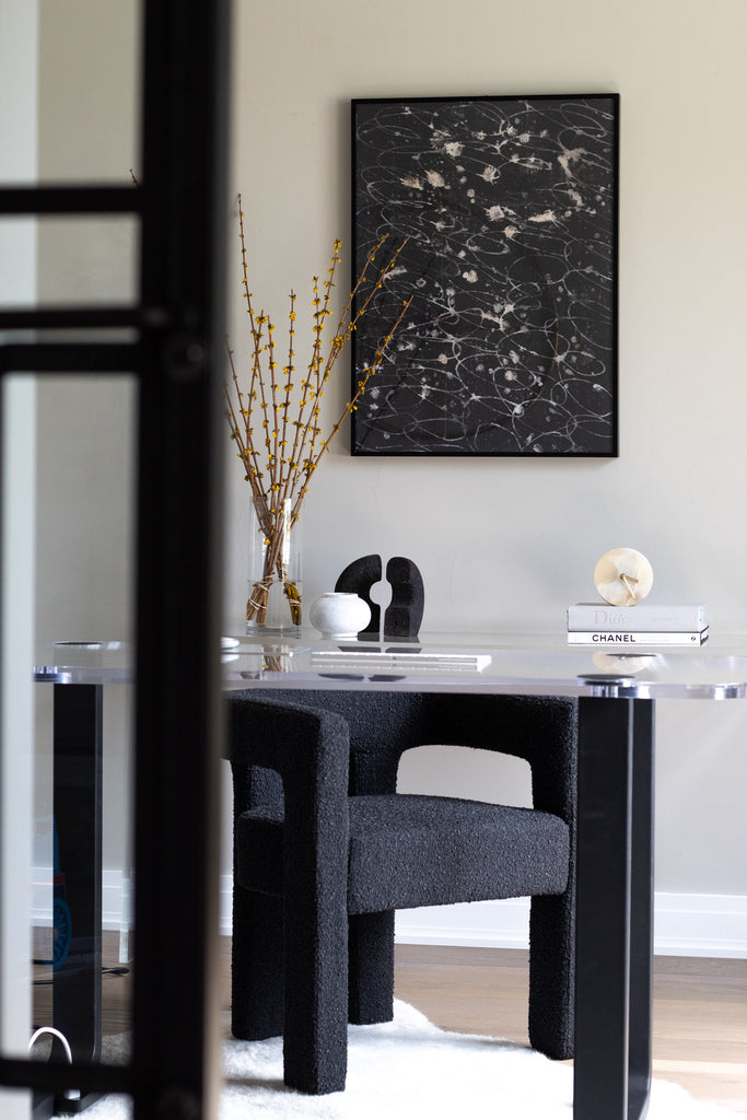 black abstract art print for an office