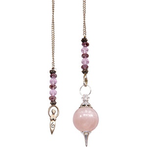 Pendulum Sephoroton Rose Quartz with Goddess