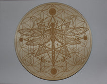 "Load image into Gallery viewer, 8"" Birch Wood Engraved Crystal Grids"