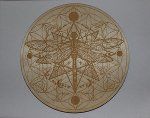 "8"" Birch Wood Engraved Crystal Grids"