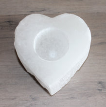 Load image into Gallery viewer, Selenite Heart Tea Light Holder