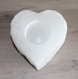 Selenite Heart Tea Light Holder
