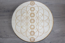 "Load image into Gallery viewer, 6"" Birch Wood Engraved Crystal Grids"