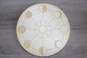"6"" Birch Wood Engraved Crystal Grids"