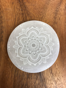 Mandala Selenite Disc