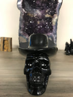 Black Obsidian Skull with Hat